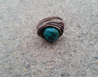 Turquoise Antiqued Copper Ring Handmade Wire Wrapped by Arden Designs