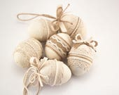 Set of Six Easter Eggs, Easter Holiday Gift, Easter Ornament, Burlap Easter Decorations, Home Decor