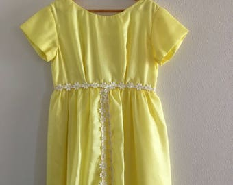 Girl's Vintage Dress - Flower Girl Dress - Yellow Special Occassion Dress - Tween - 10-12yrs