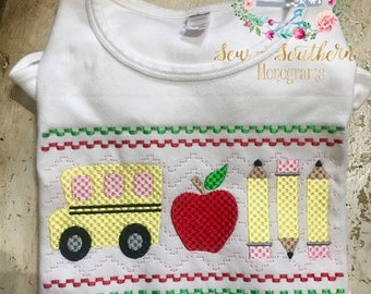 Faux Smocking back to school theme ruffle tee