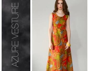 70s Dress, 1960s Dress. 1970s Maxi Dress, A-Line, Paisley, Hippie Dress, Maxi Dress, Festival Dress. Size Small/Medium.