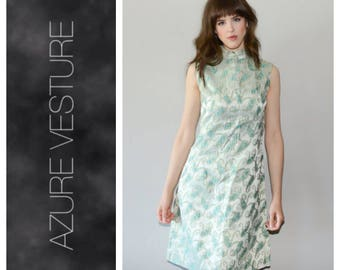 1960s Party Dress. 60s Metallic, Gogo Mini Vintage Dress. Mad men Style. Retro Wedding Guest Dress. Small