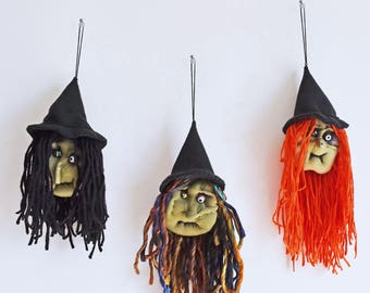 Weird Sisters  - Set of 3 Wicked Witches - Handmade Halloween Decorations, Hanging Ornaments