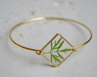 Geranium leaf bracelet Rush bracelet Gold 16K plated Geometrical bracelet Diamond bracelet Real leaf resin jewelry Geranium jewels Botanical