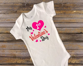 My first Valentine's Day Onesie. first valentines day. onesie. valentines day. valentines onesie. 1st valentines day. baby girl onesie.