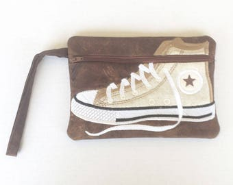 High Top Sneaker Bag. Wristlet Sneaker Bag, Zipper Sneaker Bag