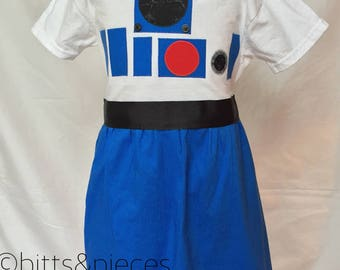 R2D2 Inspired Comfy T-shirt Dress, sizes 4 and 5 (ages 4-5, 5-6 or 7)