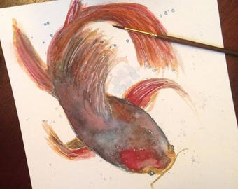 8x8 Abstract Watercolor Catfish Print