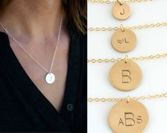 Gold Disc Necklace, Monogram Necklace Gold, Hand Stamped Initial Necklace, Sterling Silver 14K Gold Fill, Gift for Her,LEILAjewelryshop,N250