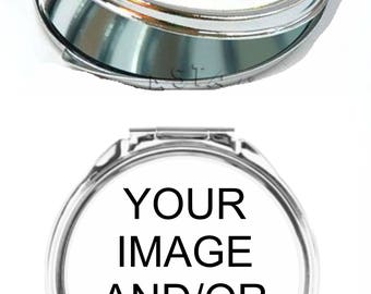 Personalized Custom Photo Picture Color Printed Makeup Compact Mirror ROUND