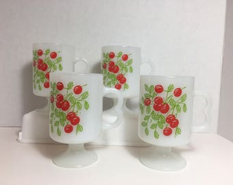 Milk Glass Cherry Cups