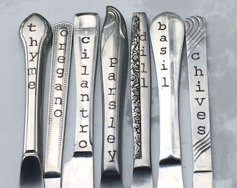 Kitchen Garden, Herb Markers, Set of 7, Made from Repurposed Silverware