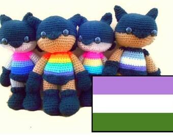 MADE to ORDER: Genderqueer Amigurumi Superhero Doll, LGBT Crochet Doll, Genderqueer Plushie Gift