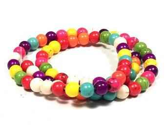50 perles howlite rondes multicolores 8 mm