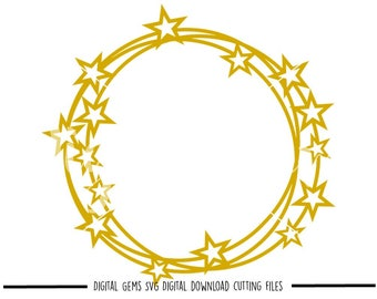 Star frame svg / dxf / eps / png files. Digital download. Compatible with Cricut and Silhouette machines. Small commercial use ok.