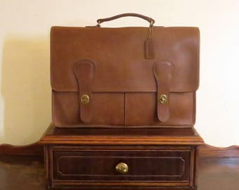 Coach Brief Bag In Tabac Leather Made In ' The  Factory' In New York City Style No. 5080 EUC- Rare