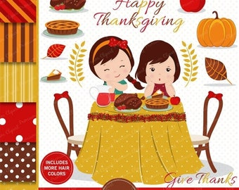 80% OFF SALE Thanksgiving clipart, Girl clipart, Thanksgiving scrapbooking, Thanksgiving dinner images, Commercial use - CL173