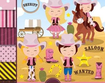 80% OFF SALE Wild West Clipart, Wild West Party, Western Clipart,  Cowgirl clipart, Girl Clipart, Western Graphics, Scrapbook paper - CL141