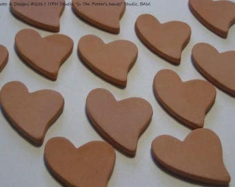 "12 pcs Bisque Hearts 23x31mm or 3/4""x1.5"" Ceramic Blank Clay Diffuser refill charm ornament canvas Aromatherapy DIY kids paint DIY jewelry"