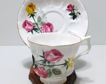 Royal Windsor Bone China Teacup Saucer Pink Yellow Roses England
