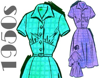 """1950s Shirtwaist Dress Pattern  MAIL ORDER 4729 bust 36"""" Vintage Dress Pattern 1950s Dress Pattern Shirt Dress Pattern Fit and Flare Dress"""