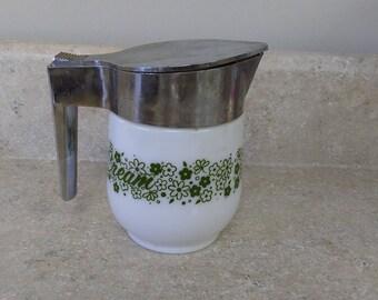 Gemco Vintage Crazy Daisy Milk Glass Retro Creamer Green Flowers on White Covered Pyrex Corning Glass Corelle Pattern