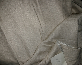 NO. 68-FABRIC COTTON VISCOSE NO FROISSABLE ARTISNAL SLIGHT STRIPED EFFECT EMBROIDERED BEIGE