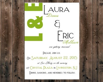 PRINTED Wedding Invitation - Modern Initials - DEPOSIT