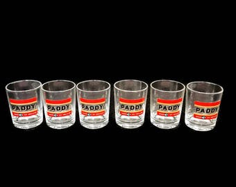 "set of 6 vintage shot glasses ""Paddy"", whisky glasses, liquor glasses, cordial glasses, retro glasses, sherry glasses"