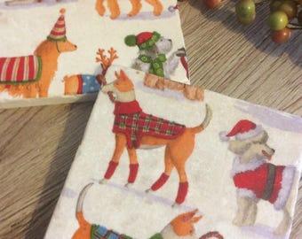 Set of 2 Marble Coasters ~ Christmas dog~Dog Breeds~Dog tiles~Dog lover gift~Dog lover decor~Colourful Dogs~Dog Coaster sets~Quirky Coasters