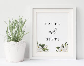 Cards and Gifts Wedding Sign, White Floral, White Flowers, Printable Gift Sign, 8x10 and 5x7 inch, 3 Designs, Instant Download, Mandy Suite
