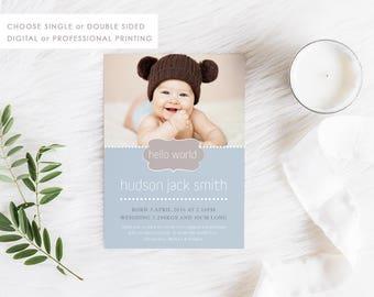 Birth Announcement Card, Printable Baby Thank You, Baby Boy Card, Photo Announcement, Free Colour Changes, 04BOY