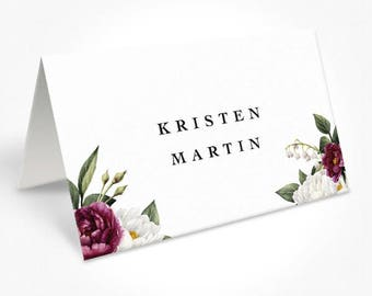 Wedding Place Cards, Monogram Wedding, White and Burgundy Flowers, Watercolour Florals, DEPOSIT | Peach Perfect Australia