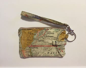 Hand Made Wristlet With ID/ IPhone 6s & 7 Wallet in Map Print