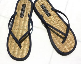 Rice straw flip flops with jeans thongs