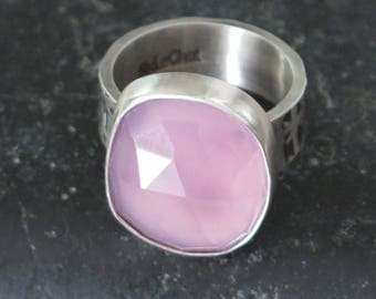 Ring silver Sterling 950 and pink chalcedony