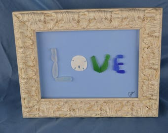 7in x 9in framed seaglass art, seaglass Love, coastal decor, beach lovers gift, Valentines day, anniversary