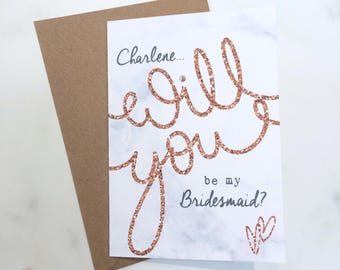 2-5 Cards Asking Bridesmaid, Invitations for Bridesmiads, Personalised Bridesmaid Cards, Will you be my Bridesmaid Cards, Maid of Honour