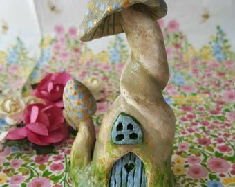 Fairy House Pixie Home with miniature toadstool detail. Display in your home or Fairy Garden. Original design, handmade and hand painted.