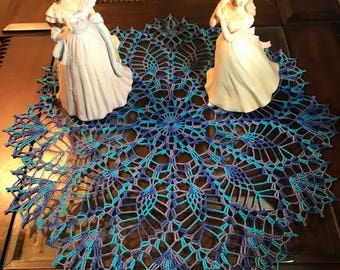 Variegated Purple, Teal, Blue Doily