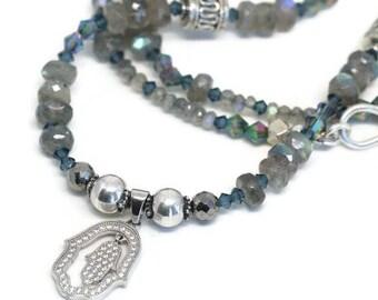 Labradorite Bead Necklace, Labradorite and Crystal Necklace, Silver Hamsa Hand Pendant, Hamsa Hand Pendant