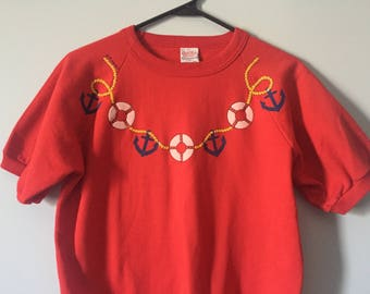 80s Sailor short sleeve red nautical sweatshirt boat pin-up anchor yaught rock club