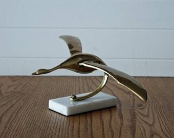 Vintage brass bird sculpture