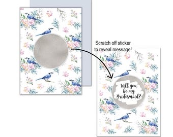 Silver Blue Bird Will You Be My?... Scratch Off Card, Will you be my Bridesmaid, Will you be my Maid of Honour, Scratch Off Greeting Card