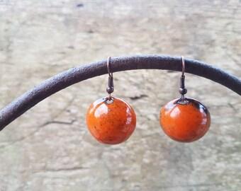 Boucles d'oreilles rondes oranges - émaux sur cuivre