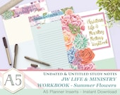 CLM Meeting Workbook companion notes - SummerFlowers A5 - Printable inserts - Undated Untitled - English