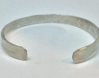 Hand Forged Hammered Thick Sterling Silver Cuff