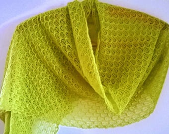 green shawl/ green wrap/ green scarf/ lace shawl/ lace wrap/ lace scarf/lime green scarf/ lime green shawl
