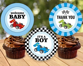 Race car cupcake toppers INSTANT DOWNLOAD thank you card Baby shower Blue Red Green boy Digital Party Printable CTCar1