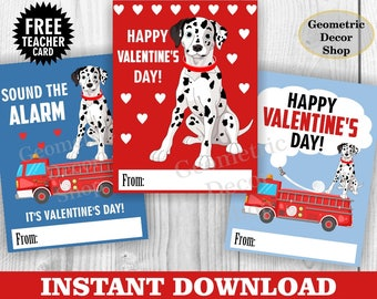 Instant download / Fire truck / Valentine Card / Fireman Valentines Card / Valentine's Day / Dog / Red / Blue / Tags teacher Kids VCard50